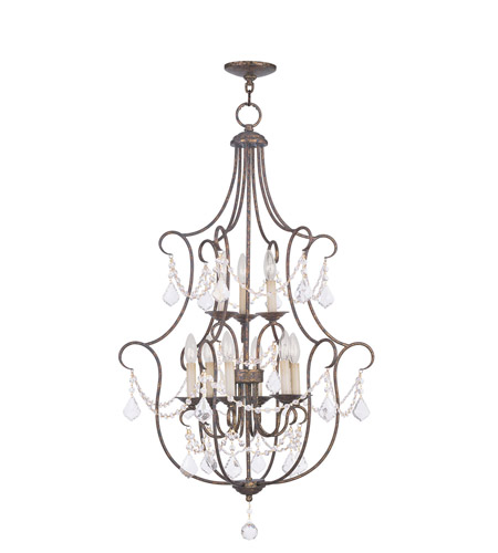 Livex 6449-71 Chesterfield 9 Light 24 inch Venetian Golden Bronze Foyer Pendant Ceiling Light photo