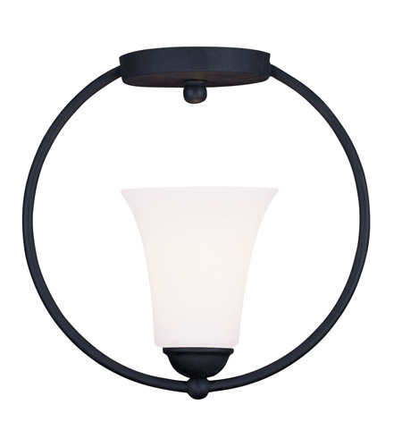 Livex Lighting Ridgedale 1 Light Ceiling Mount in Black 6470-04 photo