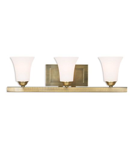 Livex 6493-01 Ridgedale 3 Light 25 inch Antique Brass Vanity Light Wall  Light - Livex 6493-01 Ridgedale 3 Light 25 Inch Antique Brass Vanity Light