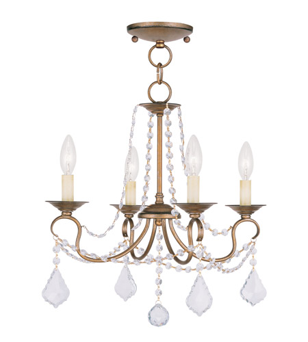 Livex Lighting Pennington 4 Light Pendant/Ceiling Mount in Antique Gold Leaf 6514-48 photo