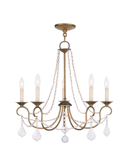 Livex 6515-48 Pennington 5 Light 25 inch Antique Gold Leaf Chandelier Ceiling Light photo thumbnail