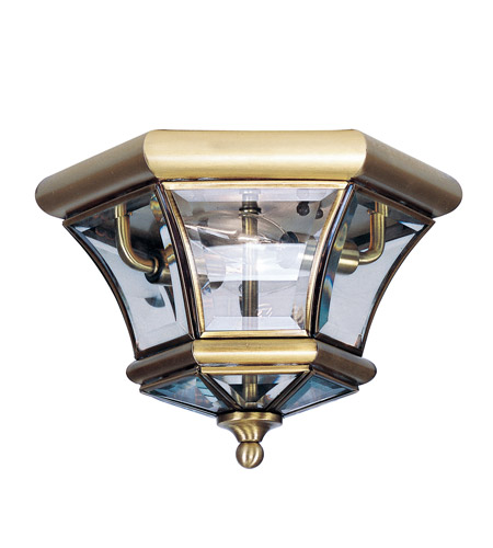 Livex 7052-01 Monterey 2 Light 11 inch Antique Brass Ceiling Mount Ceiling Light photo