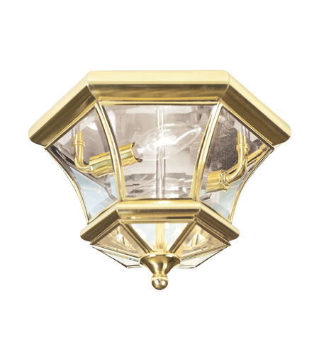Livex 7052-02 Monterey 2 Light 11 inch Polished Brass Ceiling Mount Ceiling Light photo