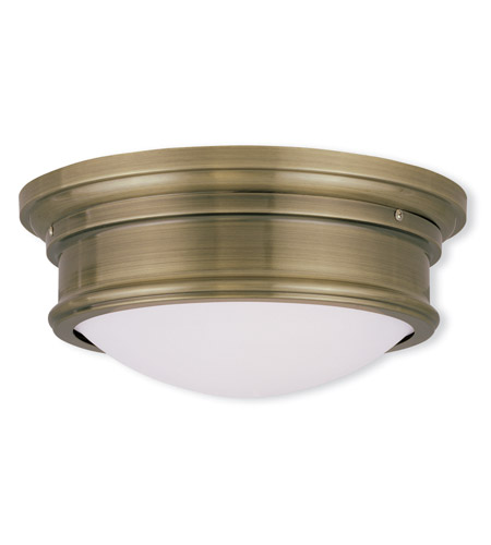 Livex 7342-01 Signature 2 Light 13 inch Antique Brass Ceiling Mount Ceiling Light photo