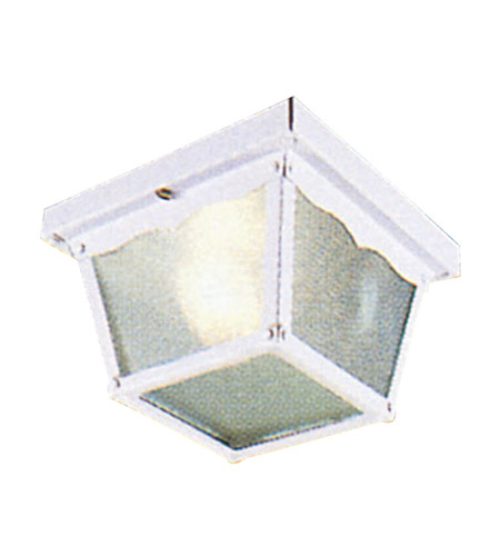 Livex 7501-03 Outdoor Basics 1 Light 7 inch White Outdoor Ceiling Mount in Clear Beveled photo