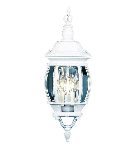 Livex Lighting Frontenac 3 Light Outdoor Hanging Lantern in White 7527-03 photo