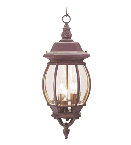Livex Lighting Frontenac 3 Light Outdoor Hanging Lantern in Weathered Brick 7527-18 photo