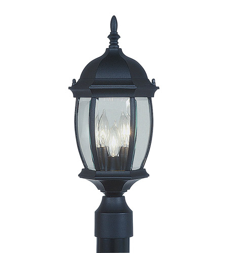 Livex Lighting Kingston 3 Light Outdoor Post Head in Black 7538-04 photo