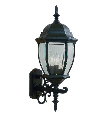 Livex Lighting Kingston 3 Light Outdoor Wall Lantern in Black 7541-04 photo