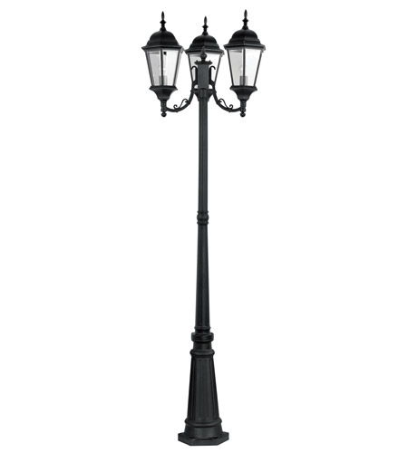 Livex 7553-04 Hamilton 3 Light 86 inch Black Outdoor Post With Lights in Clear Beveled photo