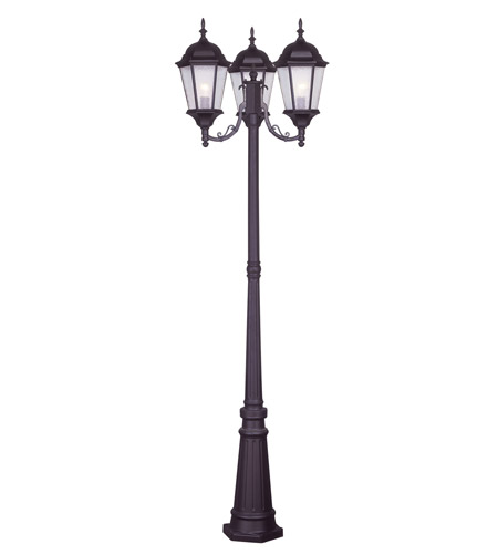Livex 7553-07 Hamilton 3 Light 86 inch Bronze Outdoor Post With Lights in Clear Water photo thumbnail