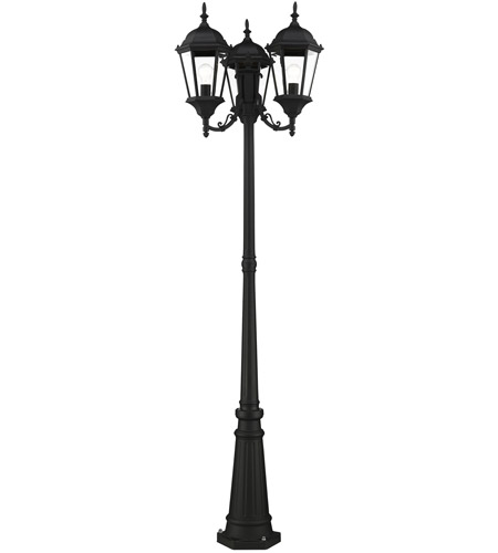 Livex 7553-14 Hamilton 3 Light 86 inch Textured Black Outdoor Post Light alternative photo thumbnail