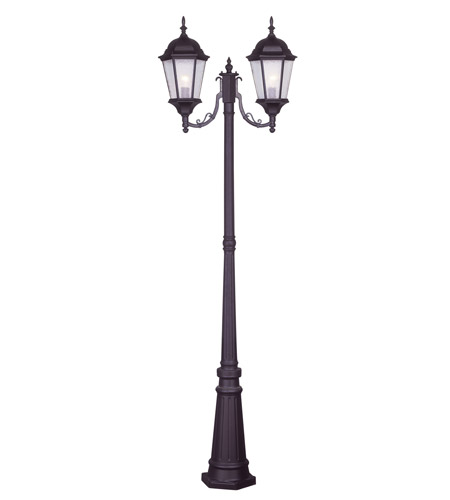 Livex 7554-07 Hamilton 2 Light 86 inch Bronze Outdoor Post With Lights in Clear Water photo