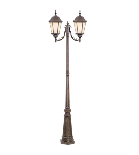 Livex Lighting Hamilton 2 Light Outdoor Post With Lights in Moroccan Gold 7554-50 photo