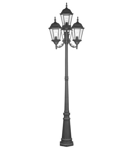 Livex 7557 04 hamilton 4 light 95 inch black outdoor post with livex 7557 04 hamilton 4 light 95 inch black outdoor post with lights in clear workwithnaturefo