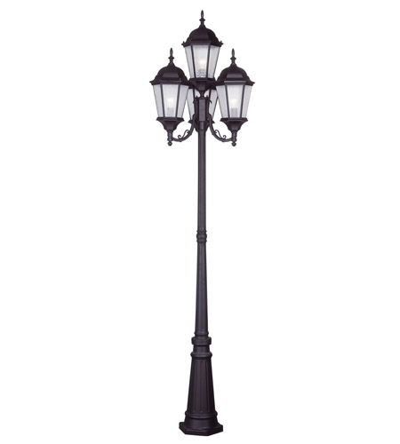 Livex 7557-07 Hamilton 4 Light 95 inch Bronze Outdoor Post With Lights in Clear Water photo