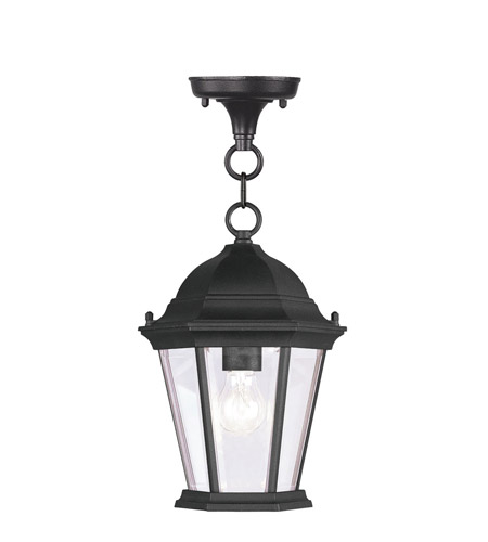 Livex 7559-04 Hamilton 1 Light 8 inch Black Outdoor Hanging Lantern in Clear Beveled photo