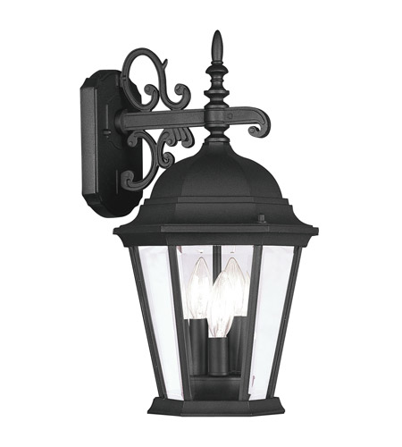 Livex 7560-04 Hamilton 3 Light 19 inch Black Outdoor Wall Lantern in Clear Beveled photo