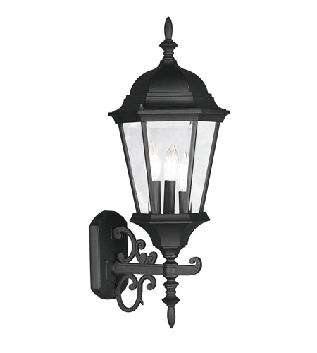 Livex 7561-04 Hamilton 3 Light 24 inch Black Outdoor Wall Lantern in Clear Beveled photo