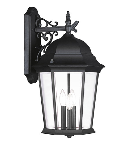 Livex 7565-04 Hamilton 3 Light 23 inch Black Outdoor Wall Lantern in Clear Beveled photo