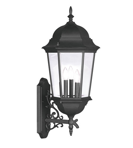 Livex 7566-04 Hamilton 3 Light 30 inch Black Outdoor Wall Lantern in Clear Beveled photo