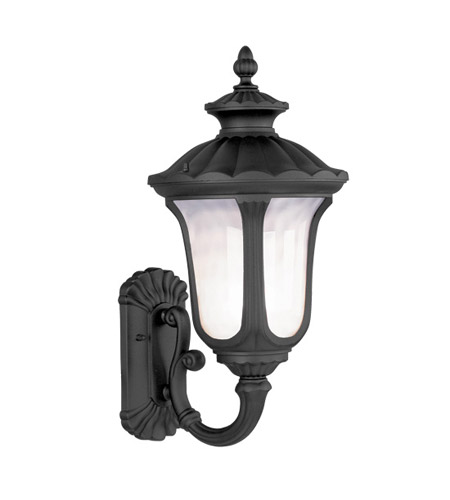Livex 7656-04 Oxford 1 Light 22 inch Black Outdoor Wall Lantern in Iced Cased photo