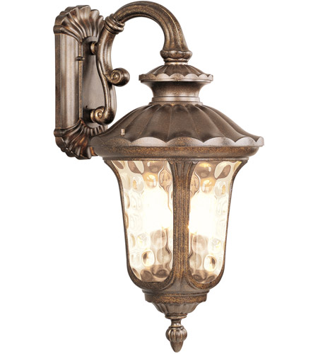 Livex Lighting Oxford 3 Light Outdoor Wall Lantern in Moroccan Gold 7663-50 photo