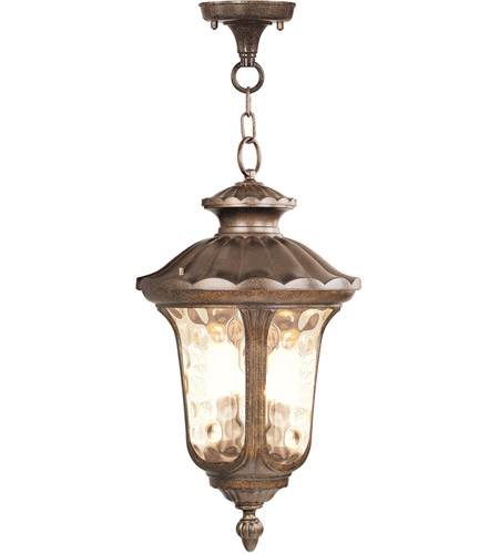 Livex 7665-50 Oxford 3 Light 14 inch Moroccan Gold Outdoor Hanging Lantern photo