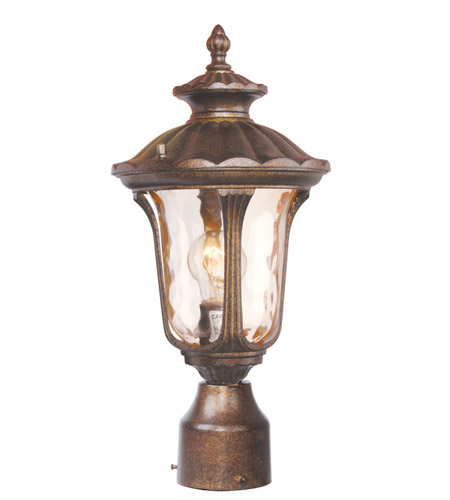 Livex 7667-50 Oxford 1 Light 16 inch Moroccan Gold Outdoor Post Head in Hand Blown Light Amber Water photo