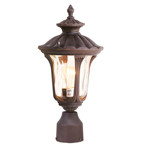 Livex 7667-58 Oxford 1 Light 16 inch Imperial Bronze Outdoor Post Head in Hand Blown Light Amber Water photo
