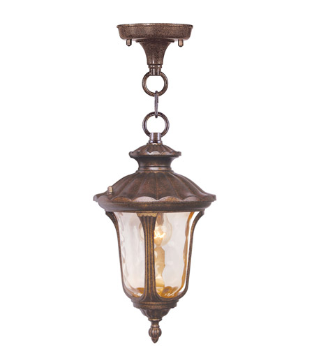 Livex 7668-50 Oxford 1 Light 7 inch Moroccan Gold Outdoor Hanging Lantern in Hand Blown Light Amber Water photo