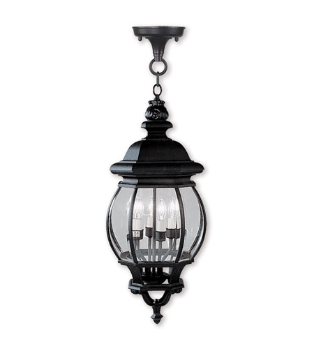Livex Lighting Frontenac 4 Light Outdoor Hanging Lantern in Black 7705-04 photo