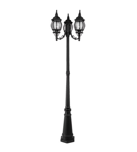 Livex 7710-04 Frontenac 3 Light 84 inch Black Outdoor Post With Lights photo