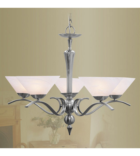 Livex 8005-91 Nouveau 5 Light 28 inch Brushed Nickel Chandelier Ceiling Light photo