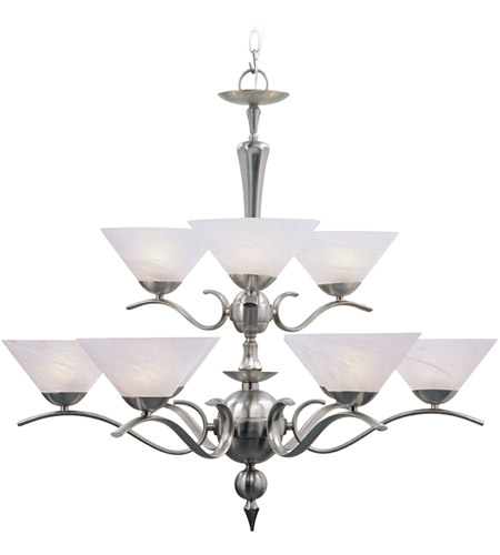 Livex 8009-91 Nouveau 9 Light 33 inch Brushed Nickel Chandelier Ceiling Light photo