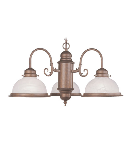 Livex Lighting Home Basics 3 Light Chandelier in Weathered Brick 8103-18 photo