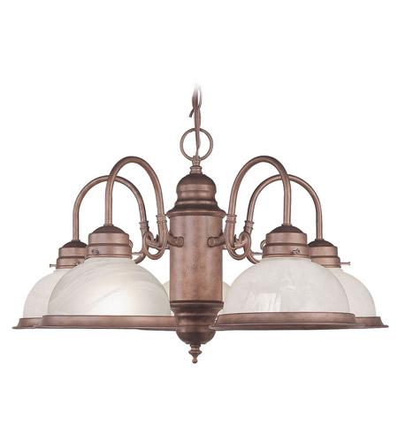 Livex Lighting Home Basics 5 Light Chandelier in Weathered Brick 8105-18 photo