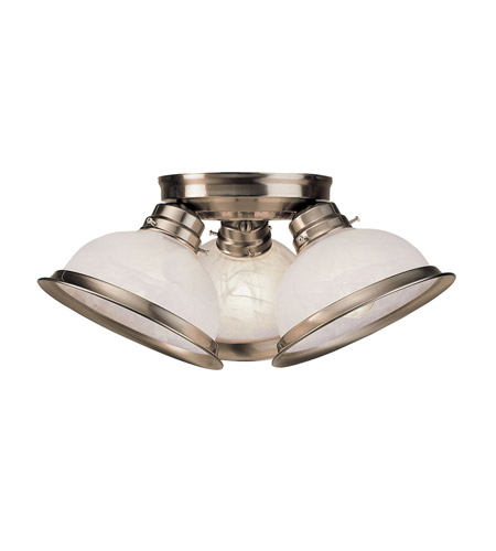 Livex 8108-91 Home Basics 3 Light 17 inch Brushed Nickel Ceiling Mount Ceiling Light  photo