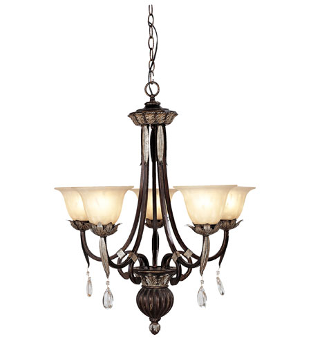 Livex Orleans 5 Light Chandelier in Hand Rubbed Bronze with Antique Silver Accents 8145-40 photo