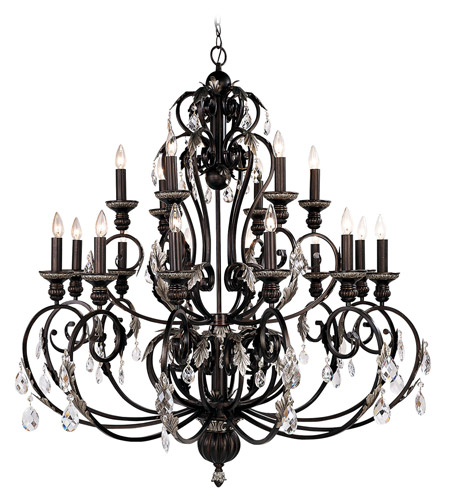 Livex Lighting Iron And Crystal 18 Light Chandelier In Hand Rubbed Bronze With Antique Silver Accents 8159 40