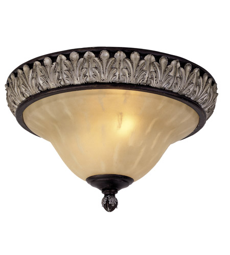 Livex Lighting Orleans 2 Light Ceiling Mount in Hand Rubbed Bronze with Antique Silver Accents 8161-40 photo