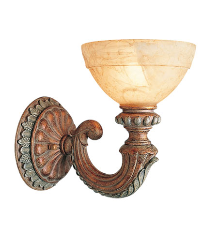 Livex Salerno 1 Light Wall Sconce in Crackled Bronze with Vintage Stone Accents 8241-17 photo