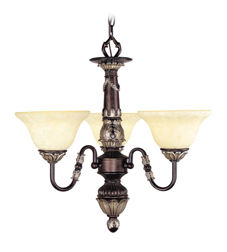 Livex Lighting Sovereign 3 Light Chandelier in Hand Rubbed Bronze with Antique Silver Accents 8303-40 photo