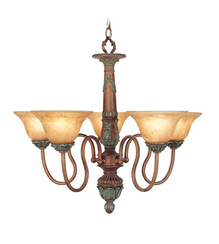 Livex Monarch 5 Light Chandelier in Crackled Bronze with Vintage Stone Accents 8305-17 photo