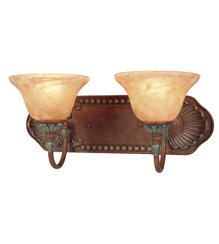 Livex Lighting Monarch 2 Light Bath Light in Crackled Bronze with Vintage Stone Accents 8325-17 photo