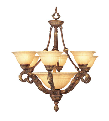 Livex Lighting Drake 9 Light Chandelier in Crackled Greek Bronze with Aged Gold Accents 8396-30 photo