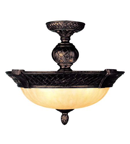 Livex Lighting Arcadia 3 Light Ceiling Mount in Hand Rubbed Bronze with Antique Silver Accents 8403-40 photo