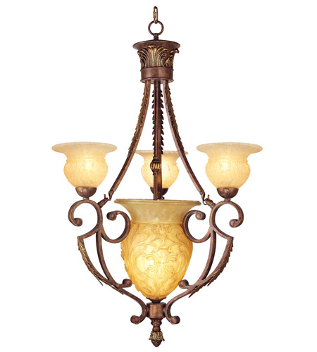 Livex Lighting Drake 4 Light Chandelier in Crackled Greek Bronze with Aged Gold Accents 8413-30 photo