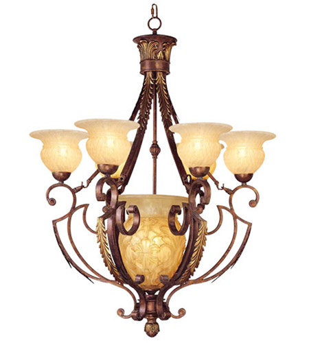 Livex Lighting Drake 7 Light Chandelier in Crackled Greek Bronze with Aged Gold Accents 8416-30 photo