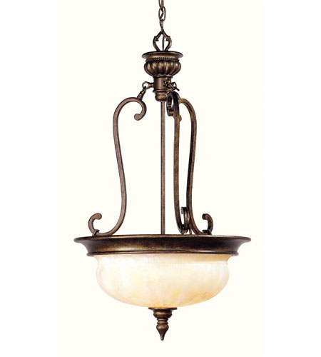 Livex Lighting Renaissance 3 Light Inverted Pendant in Moroccan Gold 8435-50 photo